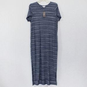Pure J. Jill M Indigo Blue Cream Striped Dress